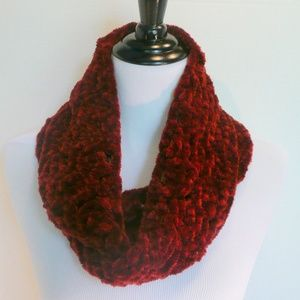 Hand Crochet Soft Rusty Red Long Infinity Scarf